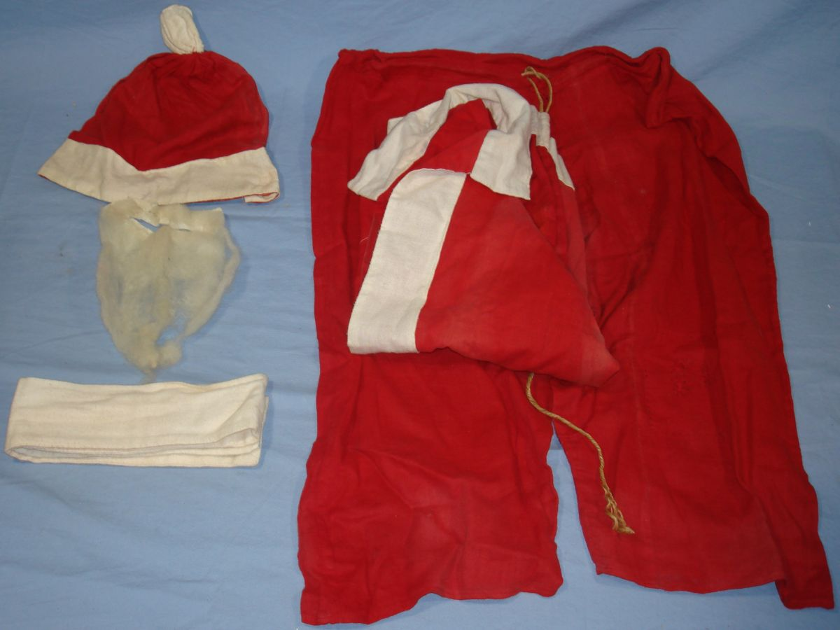 Vintage Santa Claus Kris Kringle Red Elf Suit White Beard Hat Belt Sash Coat Pants