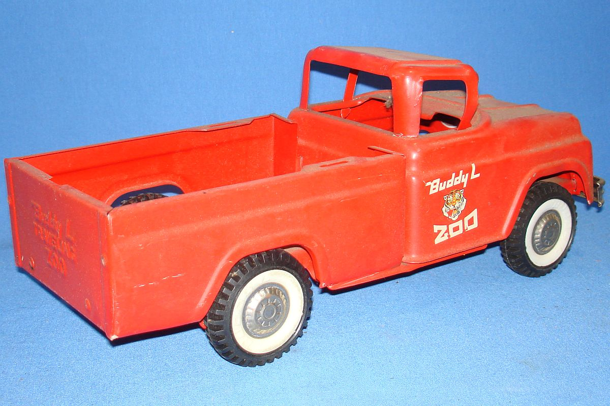 Buddy L Toys Pressed Steel Red Pickup Truck Traveling Zoo Passenger Door