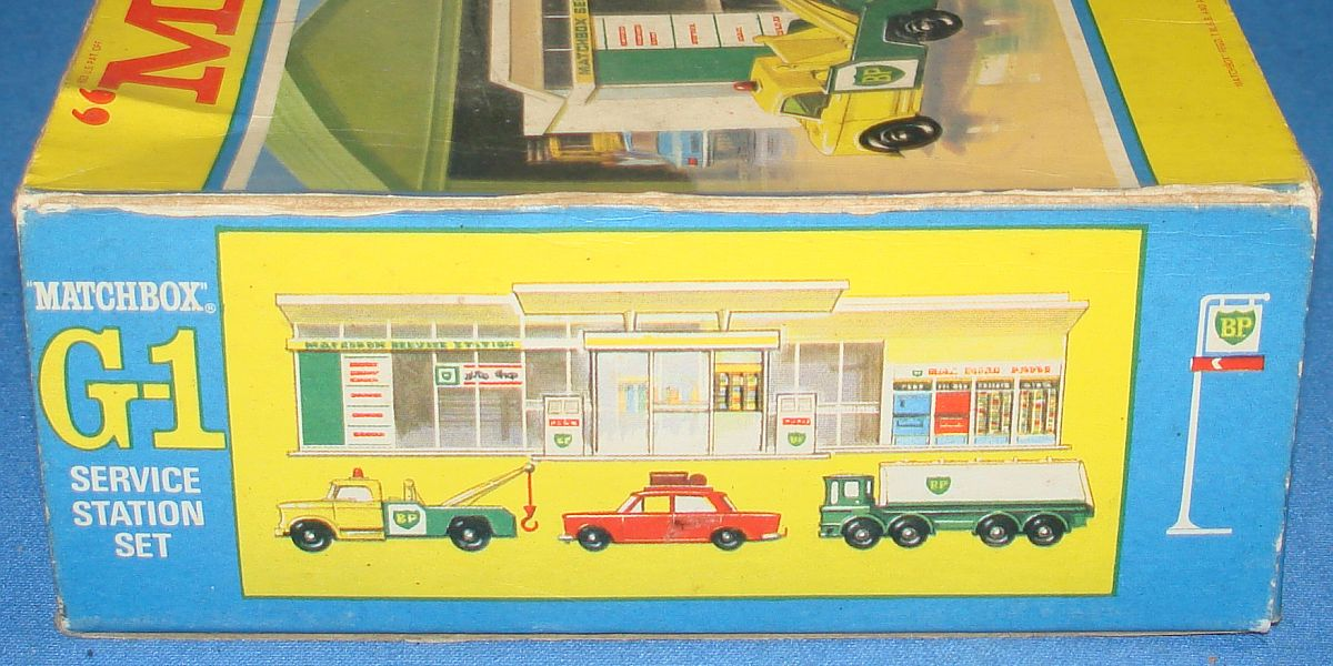 Vintage Matchbox Lesney G-1 BP British Petroleum Service Station Set Panel