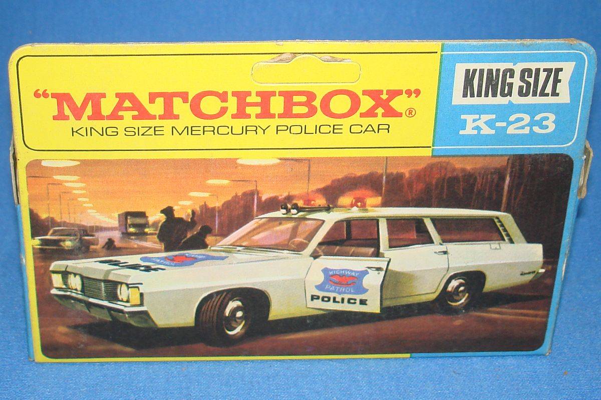 Vintage Matchbox Lesney Diecast K-23 King Size Mercury Commuter Highway Patrol Police Car Artwork