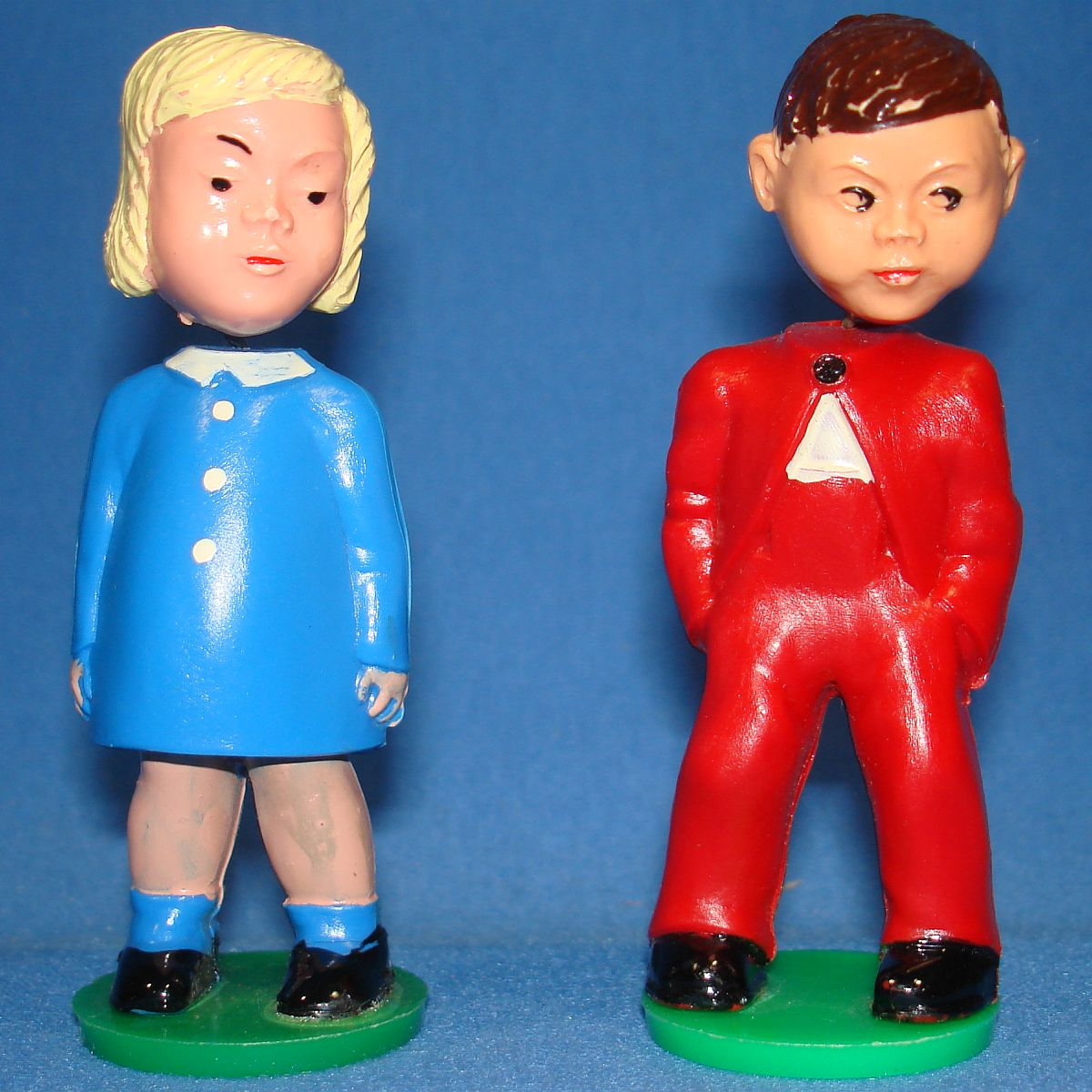 Vintage Nodders Made In Western Germany Magneto Patented Girl & Boy Couple Standing
