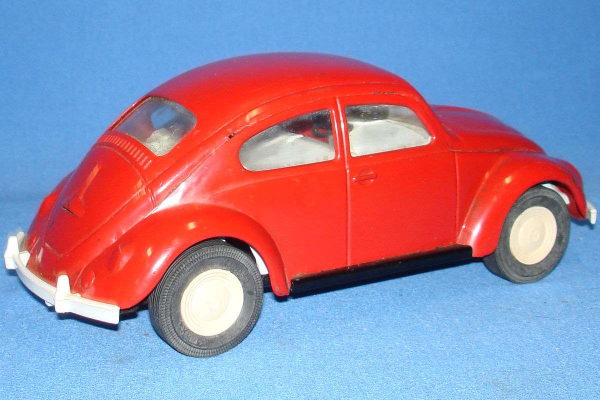 Tonka Toys Pressed Steel Red German Volkswagen VW Beetle Bug Auto Trunk
