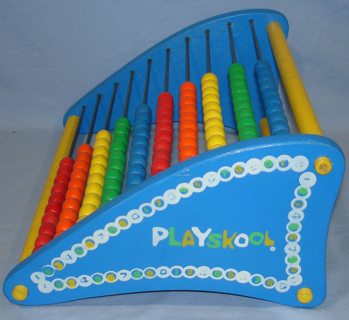 Vintage Playskool Abacus Counting Toy Red Orange Yellow Green Blue Sliding Wooden Beads Side Panel