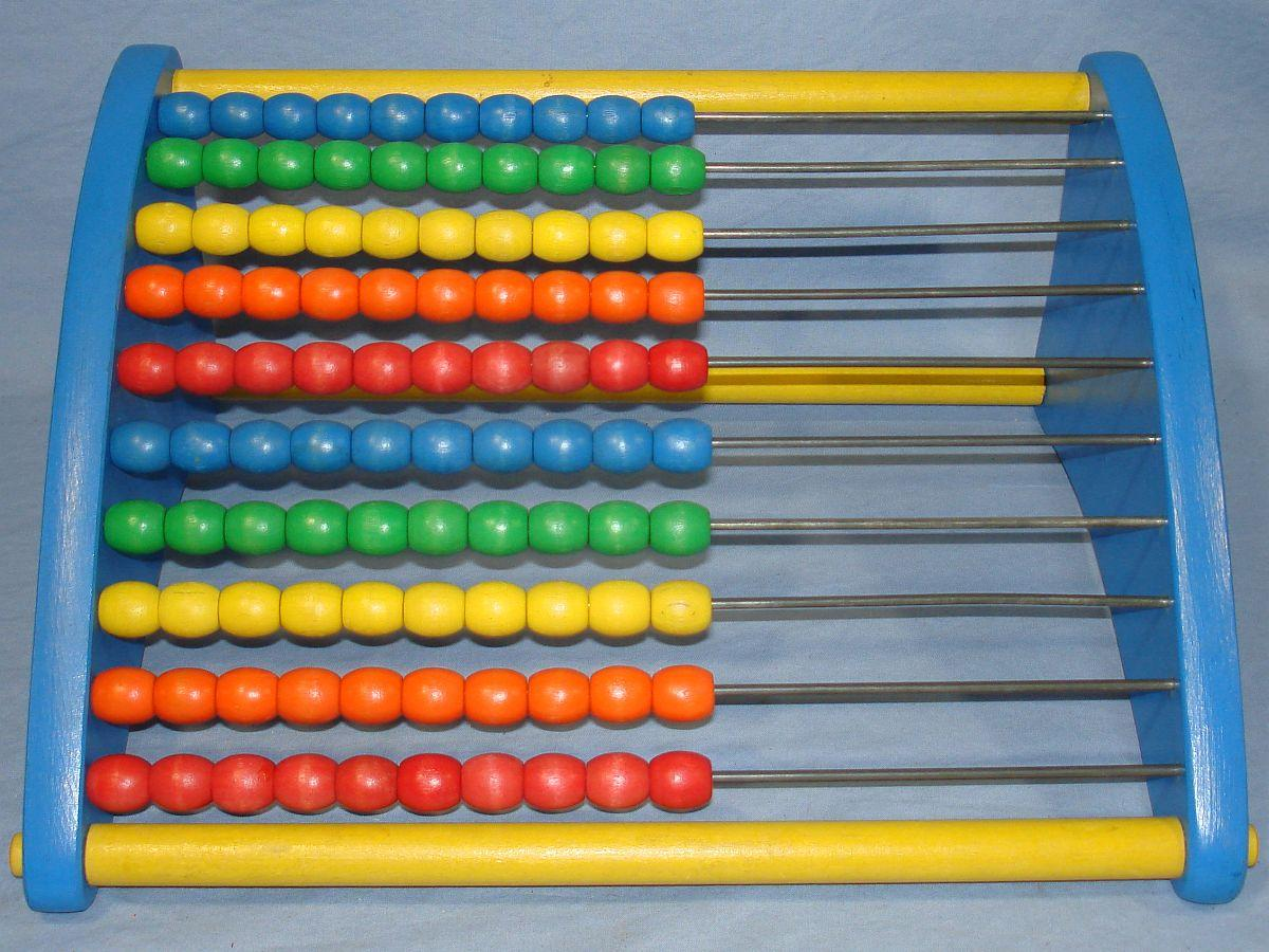 Vintage Playskool Abacus Counting Toy Red Orange Yellow Green Blue Sliding Wooden Beads