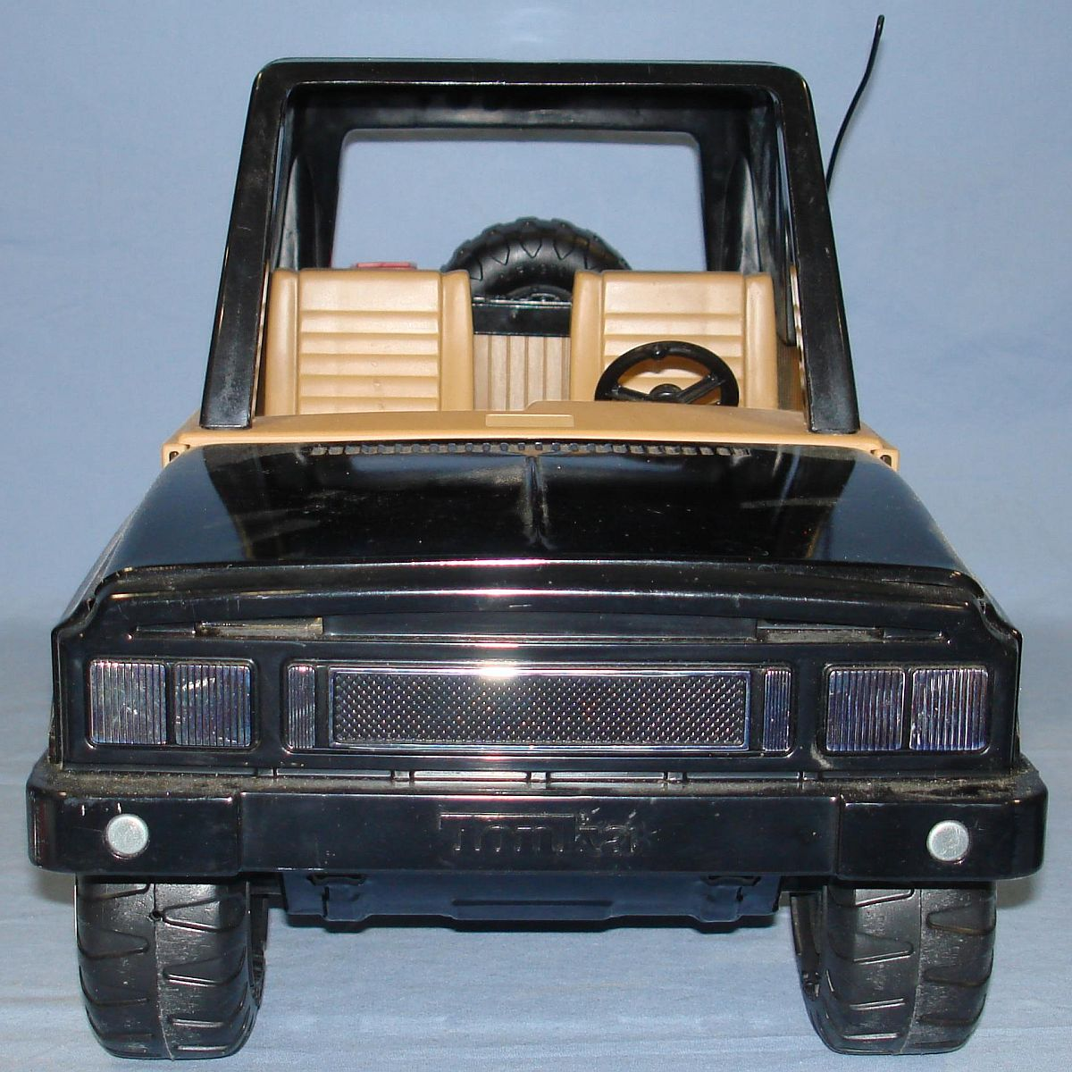 Vintage 1970s Pressed Steel Tonka Jeep Black Hood Roof