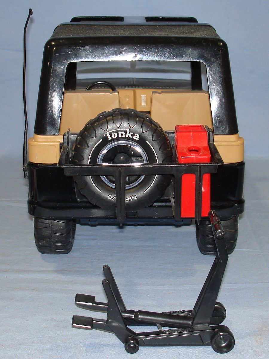 Vintage 1970s Pressed Steel Tonka Jeep Black Hood Roof Beige Interior
