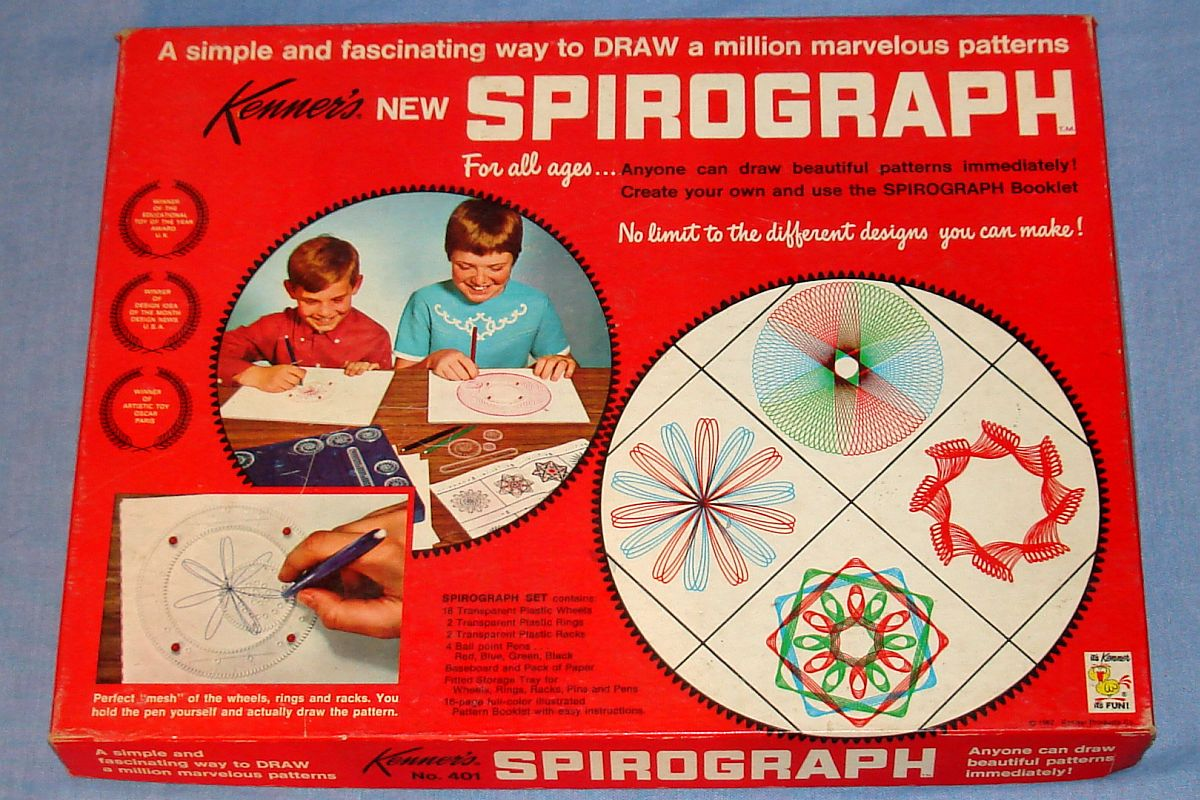 KENNERS SPIROGRAPH PLASTIC PATTERN WHEELS DRAWING SET #401 ...