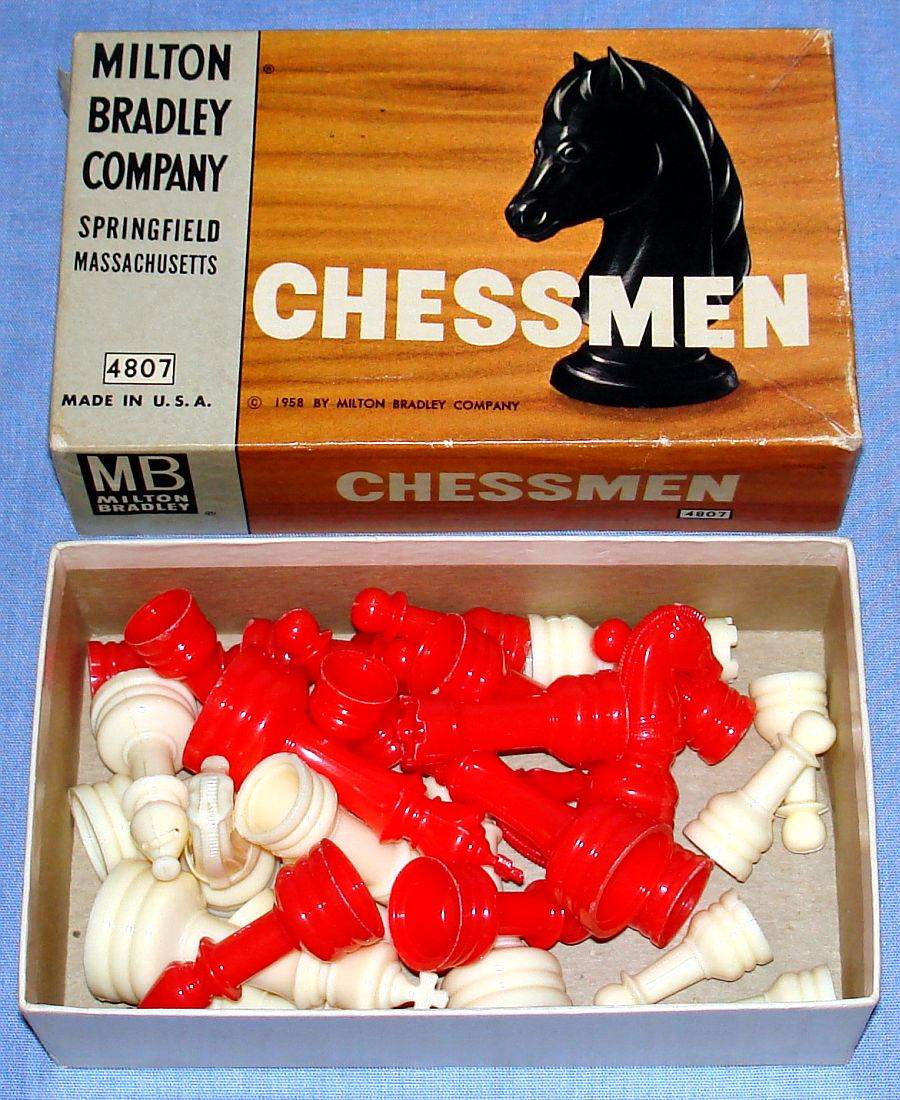 Milton Bradley Chessmen Pieces #4807 White & Red Kings Queens Bishops Knights Rooks Pawns