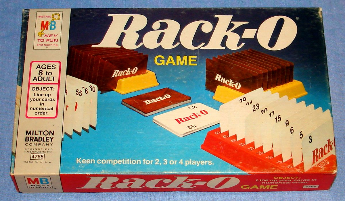 Milton Bradley Rack-O Card Game #4765 Box