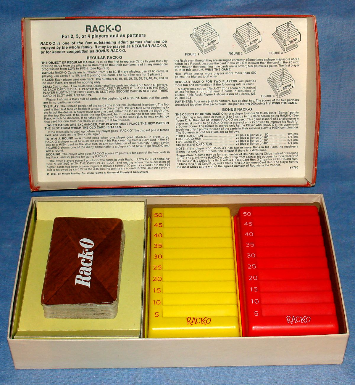 Milton Bradley Rack-O Card Game #4765 Instructions Cards Yellow Red Racks