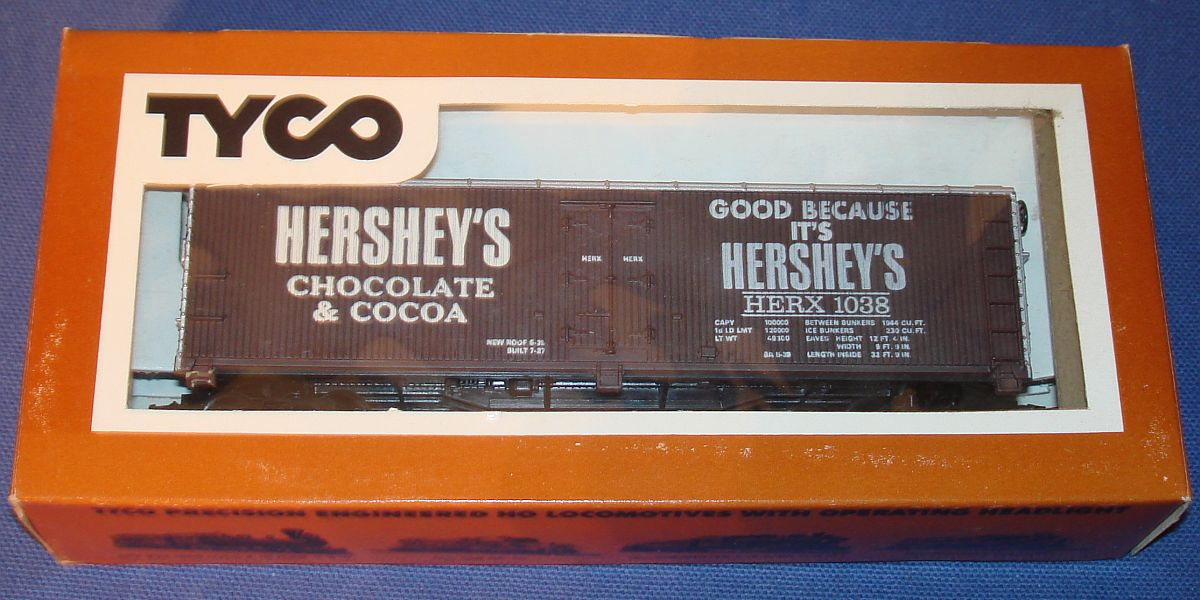 Vintage Tyco Model Railroad MIB Trains Boxcar Hersheys Chocolate Cocoa HERX 1038