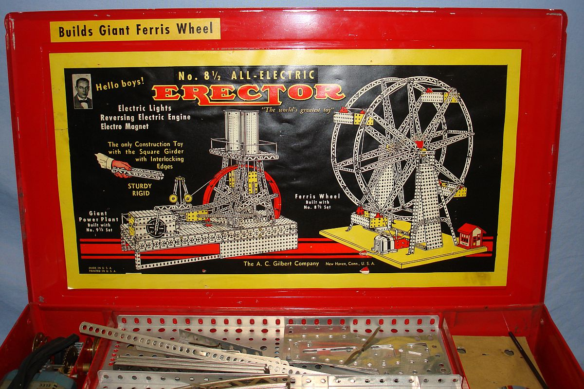 Vintage Electric Erector Set 8 1/2 Builds Giant Ferris Wheel