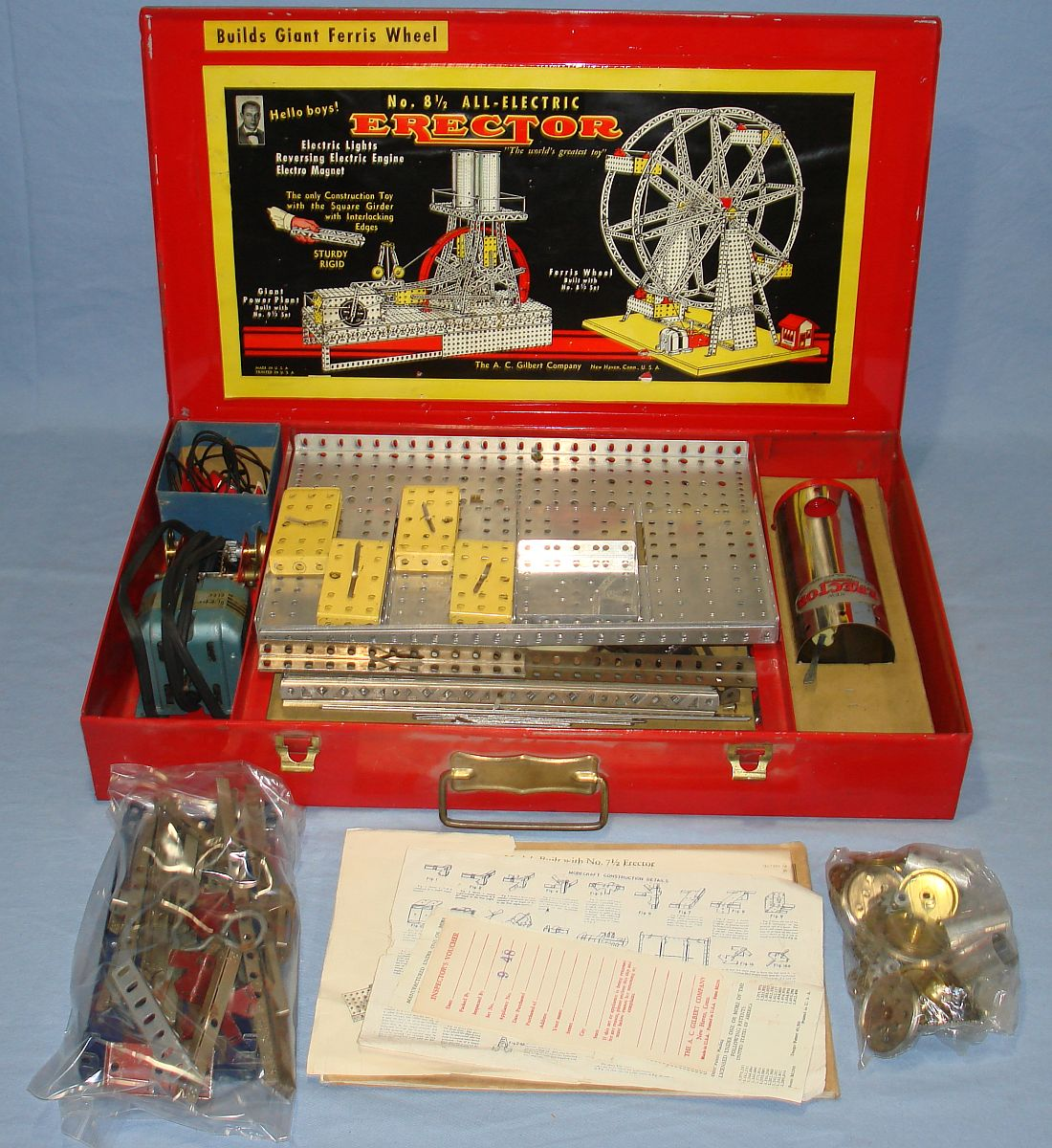 Vintage Electric Erector Set 8 1/2 Builds Giant Ferris Wheel Jacks