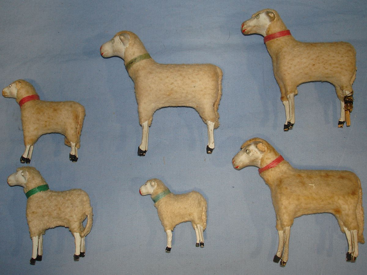Vintage Herd German Putz Nativity Stick Sheep Lot Six Various Sizes Left Side