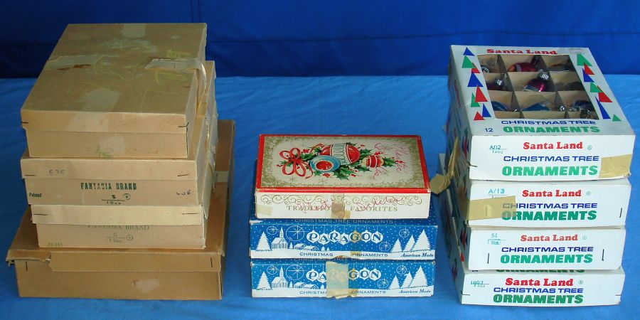 Vintage Christmas Tree Ornaments Fantasia Paragon Santa Land Icicles Boxes