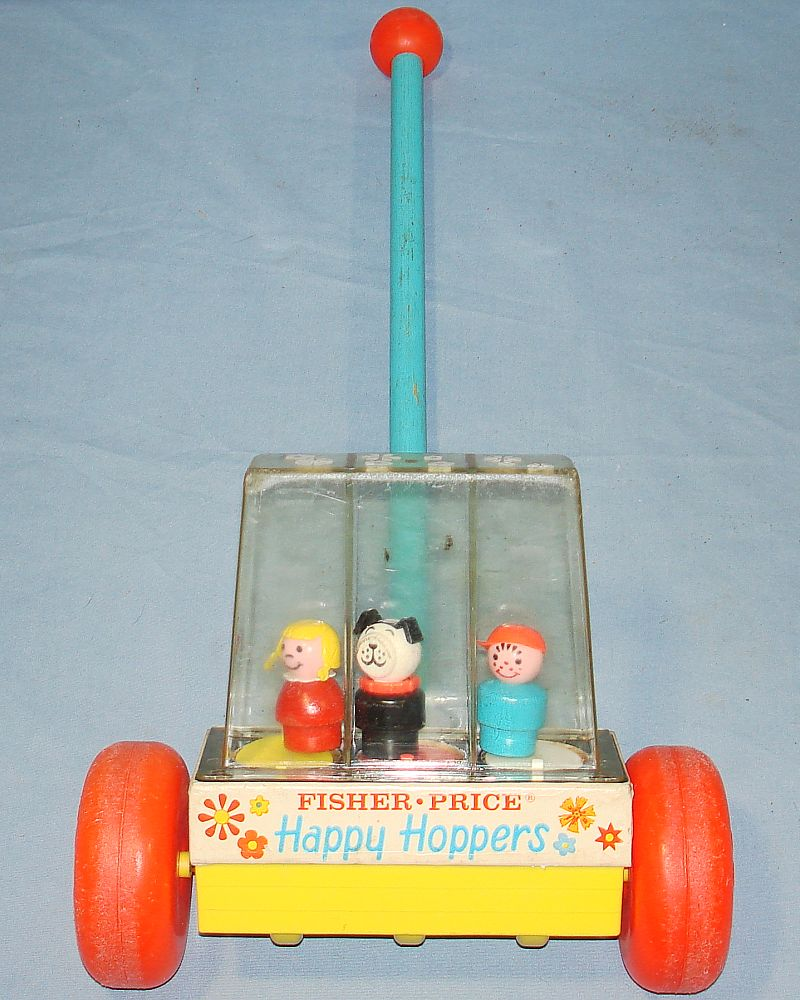 Classic Fisher Price Toys : Fisher price push toys happy hoppers little girl dog
