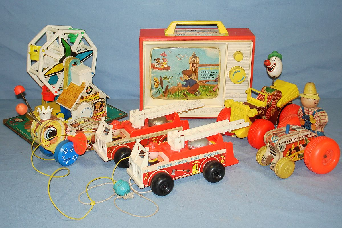 vintage fisher price toys lot ferris wheel fire engine. Black Bedroom Furniture Sets. Home Design Ideas