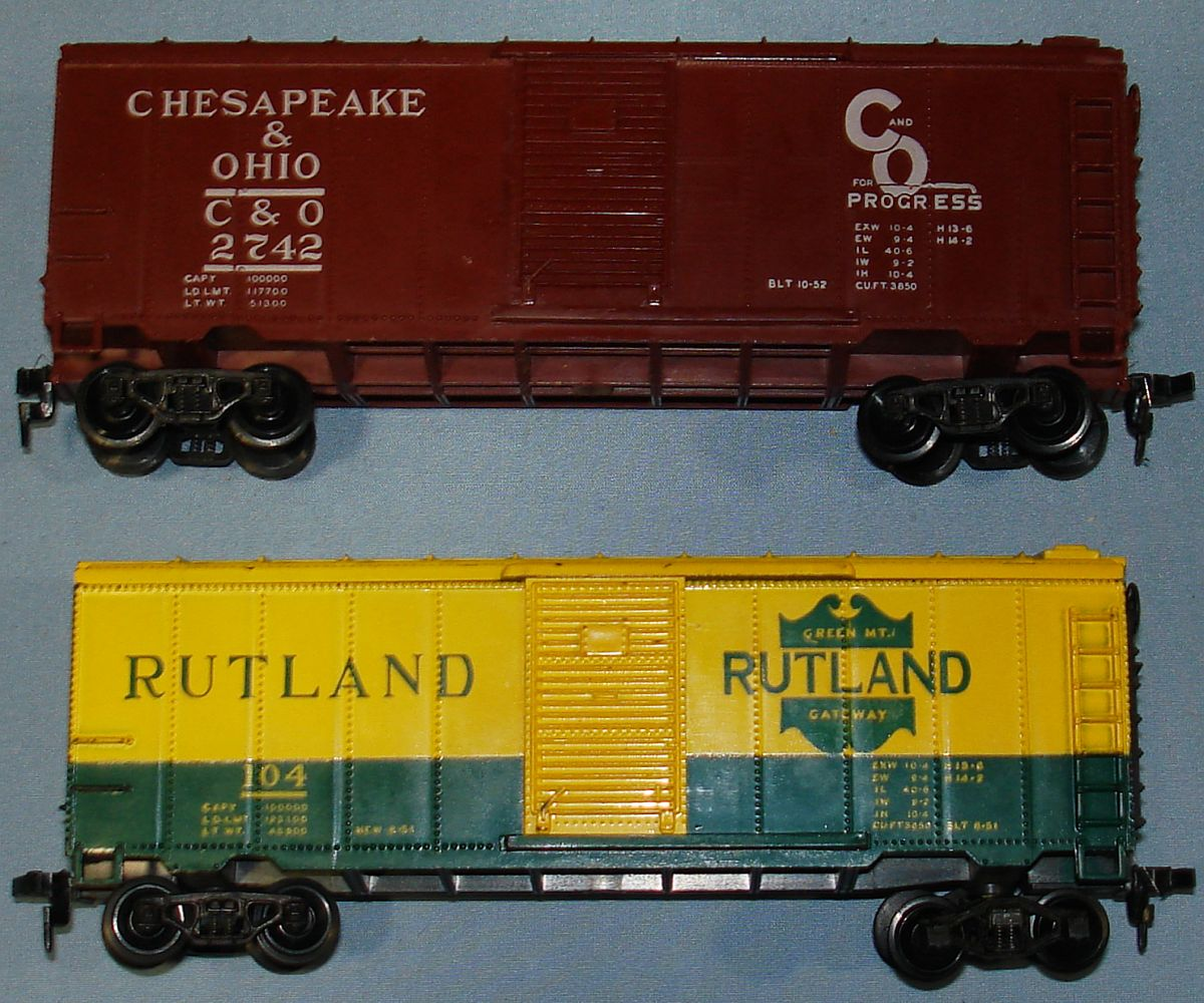 Vintage Varney Model Railroad Train Box Cars Chesapeake & Ohio #2742 Rutland #104