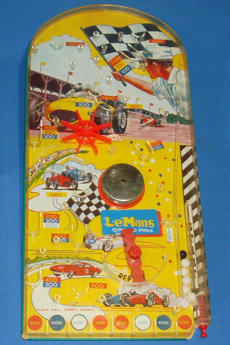 Vintage Wolverine LeMans Grand Prix Race Car Marble Vintage Pinball Game Toy