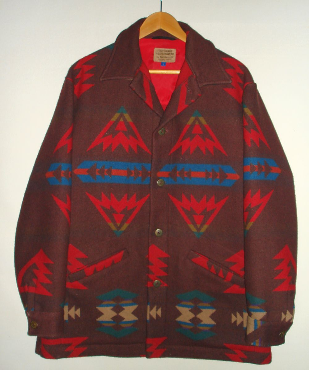 Vintage Pendleton Native American Blanket Jacket Mens Large Lapels Sleeves Pockets