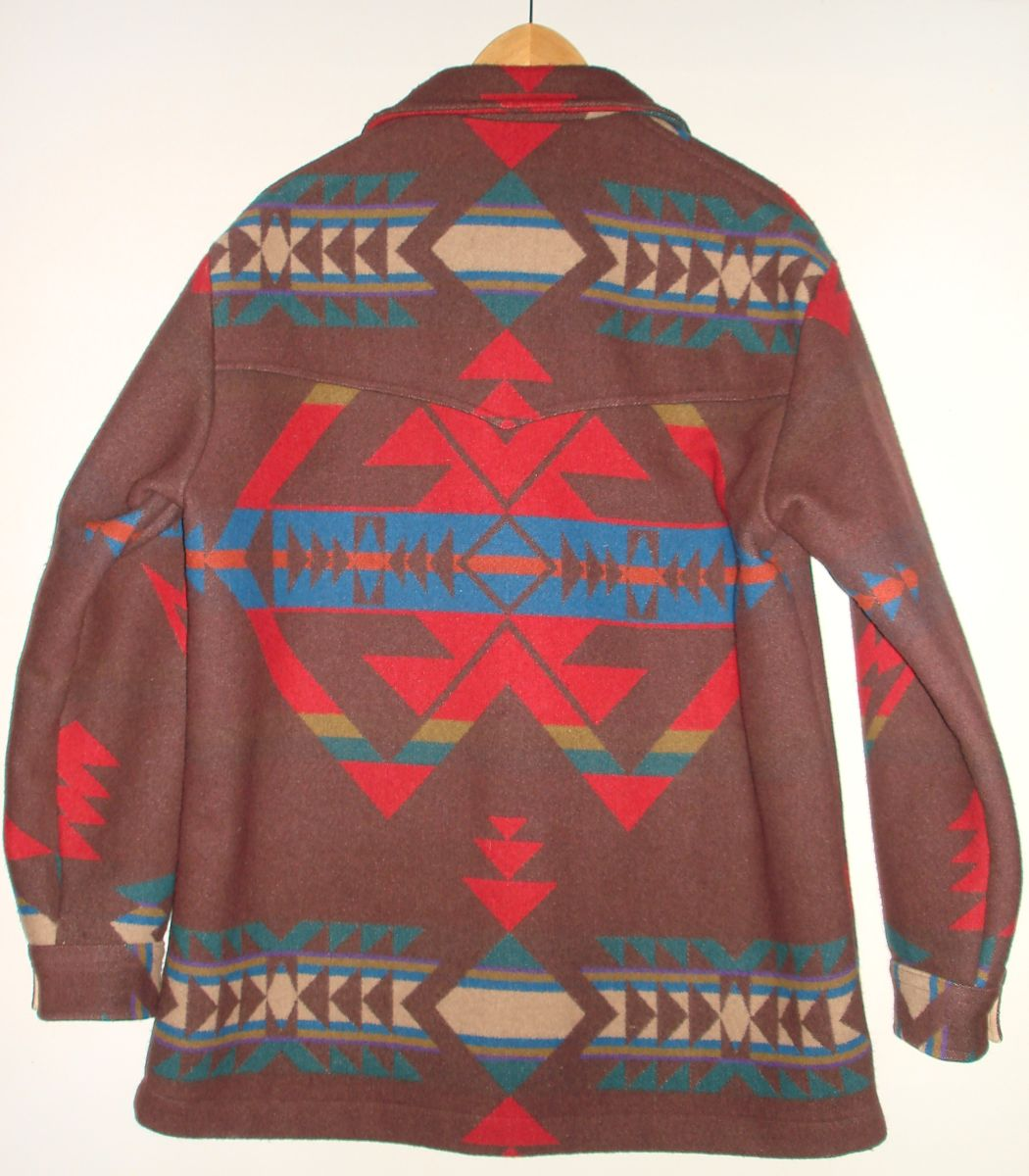 Vintage Pendleton Native American Blanket Jacket Mens Large Reverse