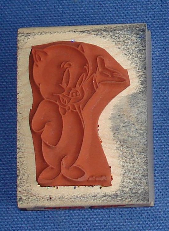 Rubber Stampede Looney Tune Porky Pig Stamper Bottom