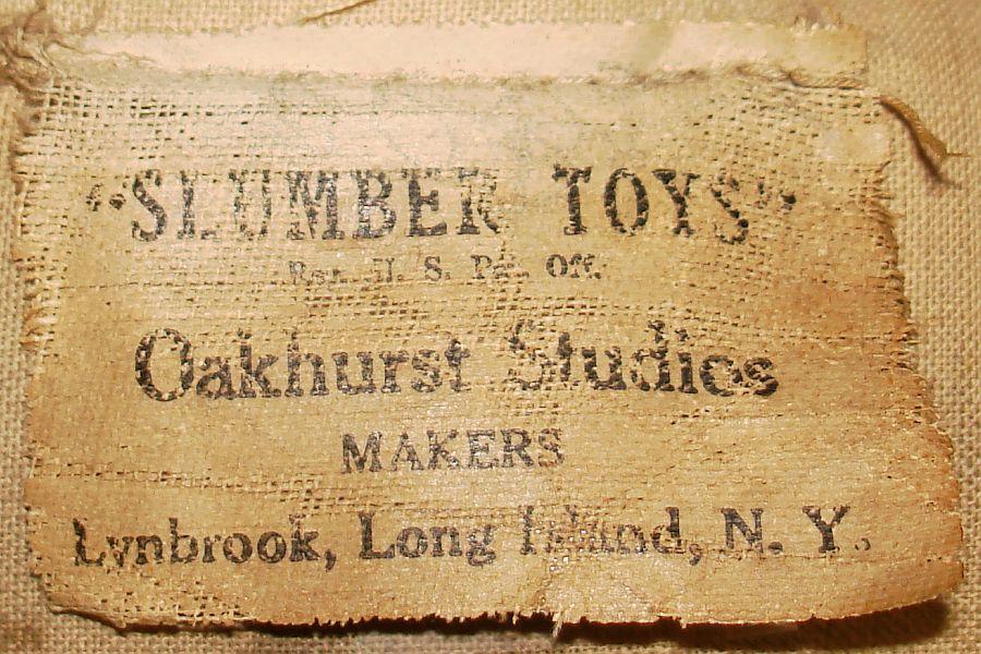 1927-28 Antique Slumber Toys Oakhurst Studios Cloth Dutch Boy Doll Tag