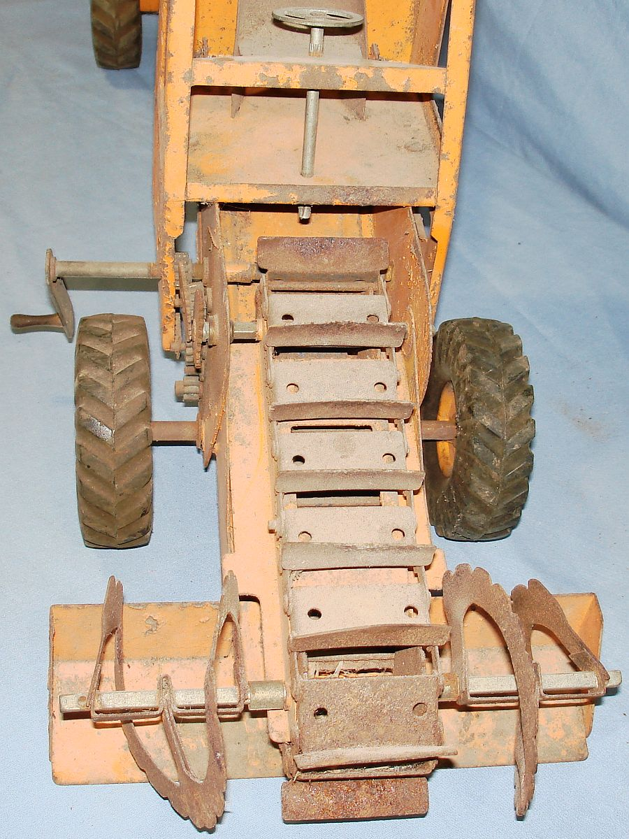 Vintage 1953-55 Ny-Lint Toys Pressed Steel Adams Traveloader Yellow Snow Plow Truck #1800 Augers