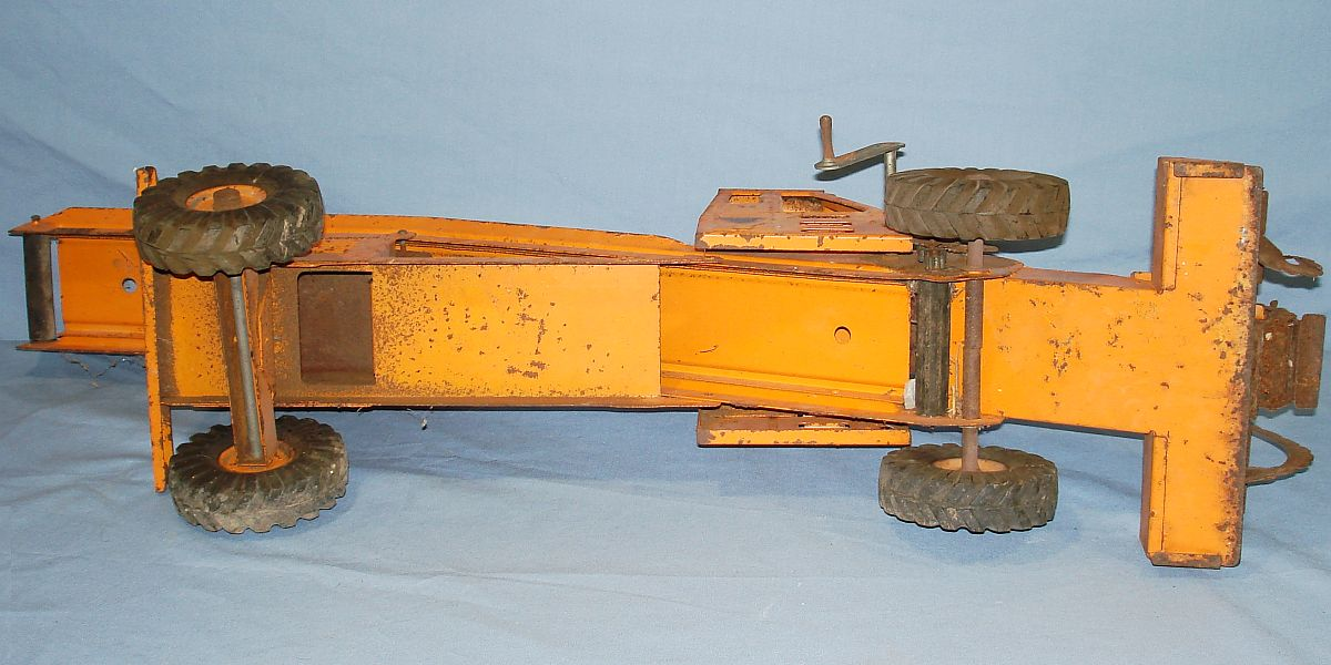 Vintage 1953-55 Ny-Lint Toys Pressed Steel Adams Traveloader Yellow Snow Plow Truck #1800 Axles & Tirws