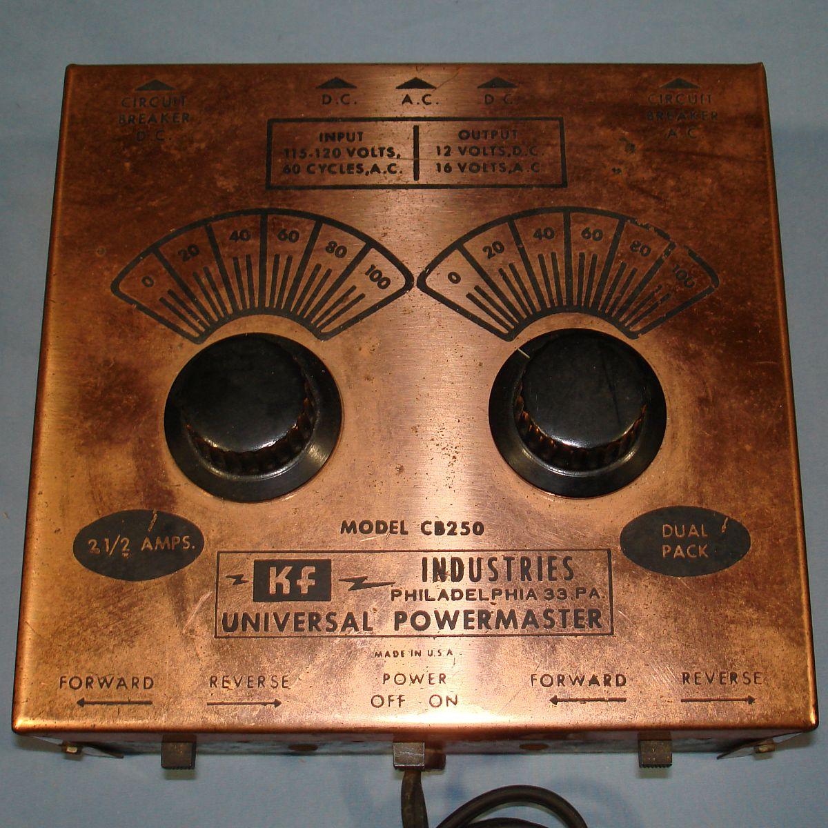 Vintage KF Industries Universal Powermaster HO Train Transformer Model CB250