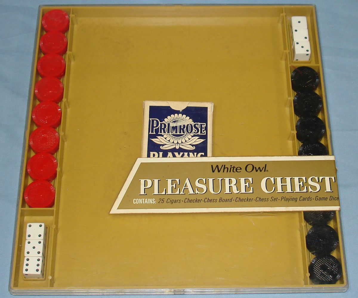Vintage White Owl Pleasure Chest Cigars Checkers Chess Set Primrose Playing Cards Dice