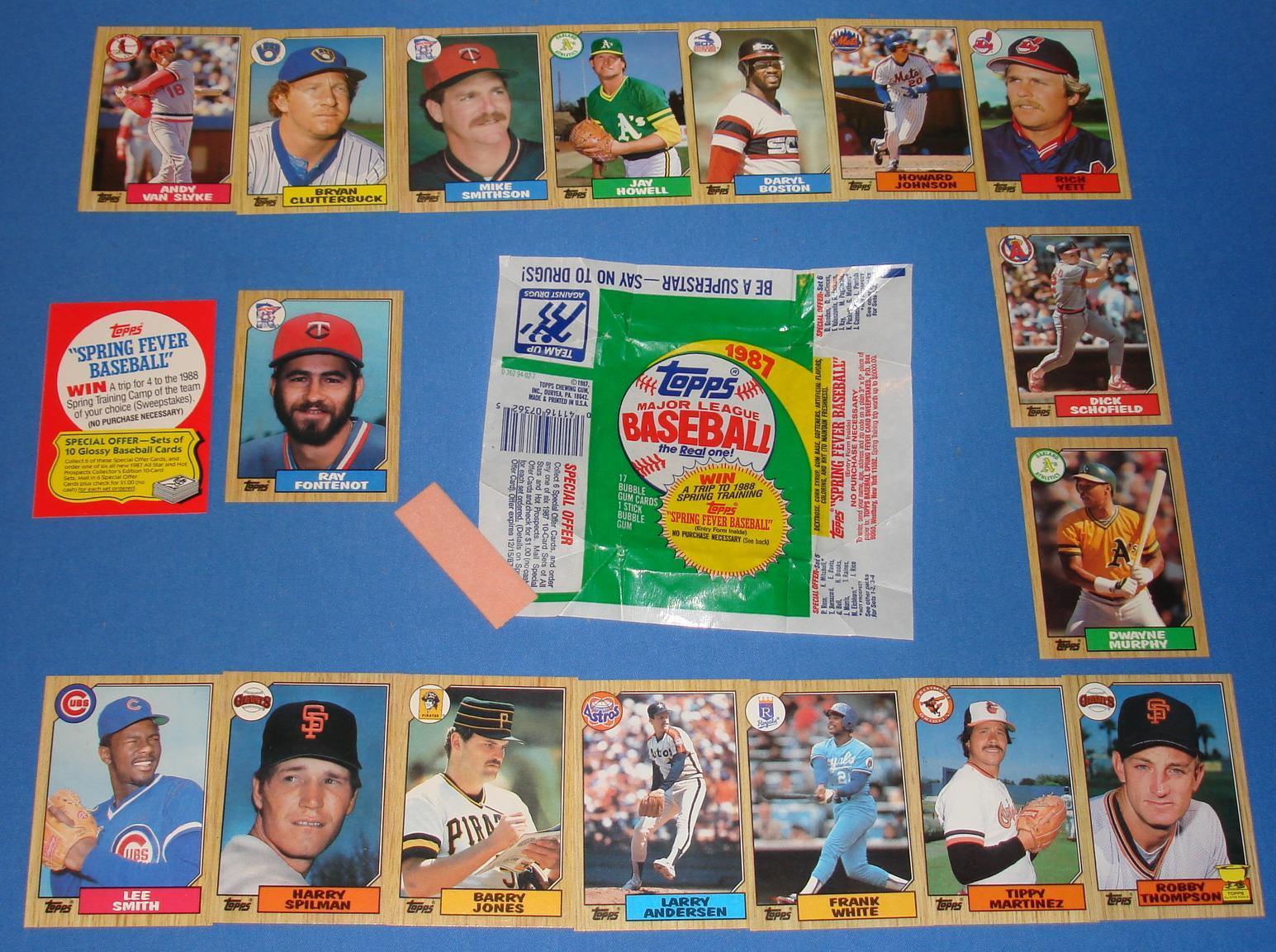 Topps Baseball Card 1987 Open Wrapper Gum Pack 17 Cards