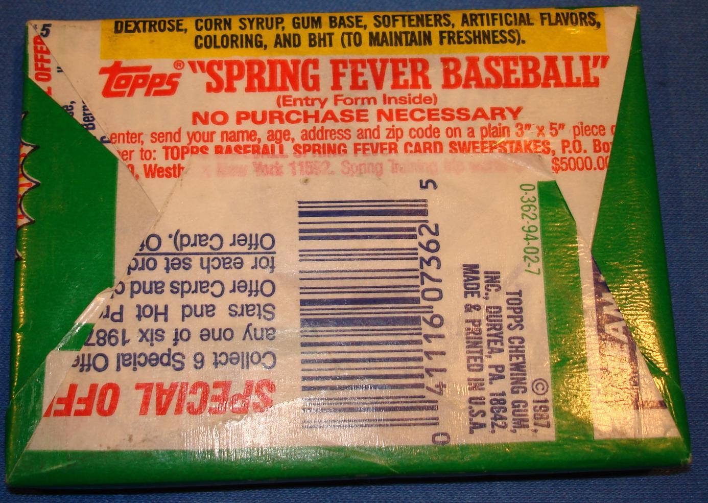 Topps 1987 Baseball Card Pack Wrapper Reverse Side
