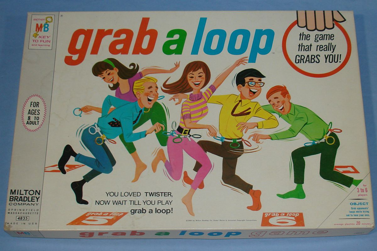 Milton Bradley MB Grab A Loop Game #4835 Box Lid