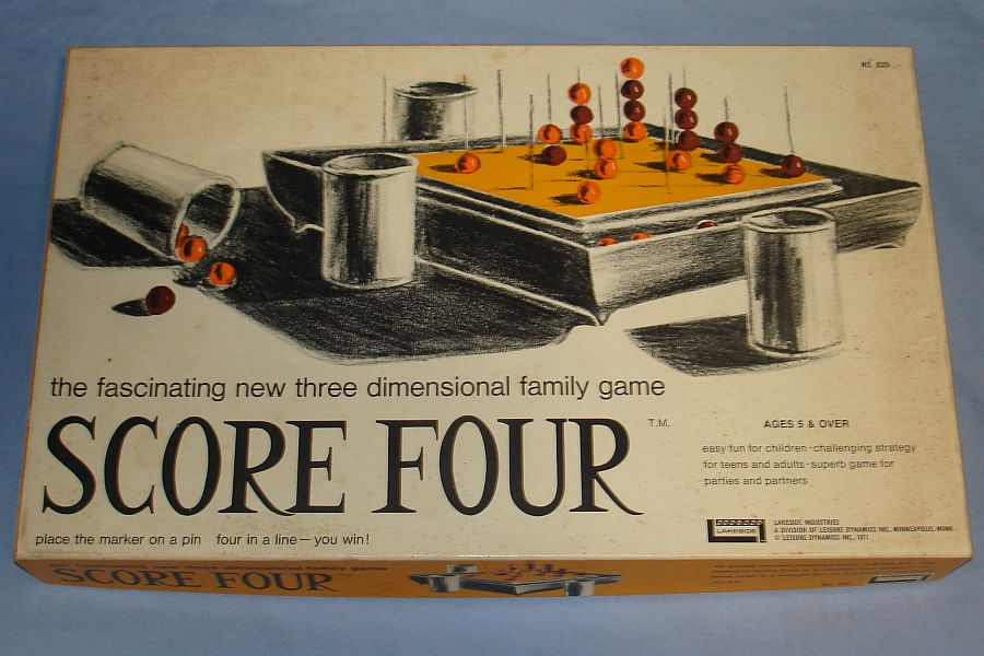 Vintage 1971 Lakeside Score Four Three Dimensional Family Game #8325 Box Lid