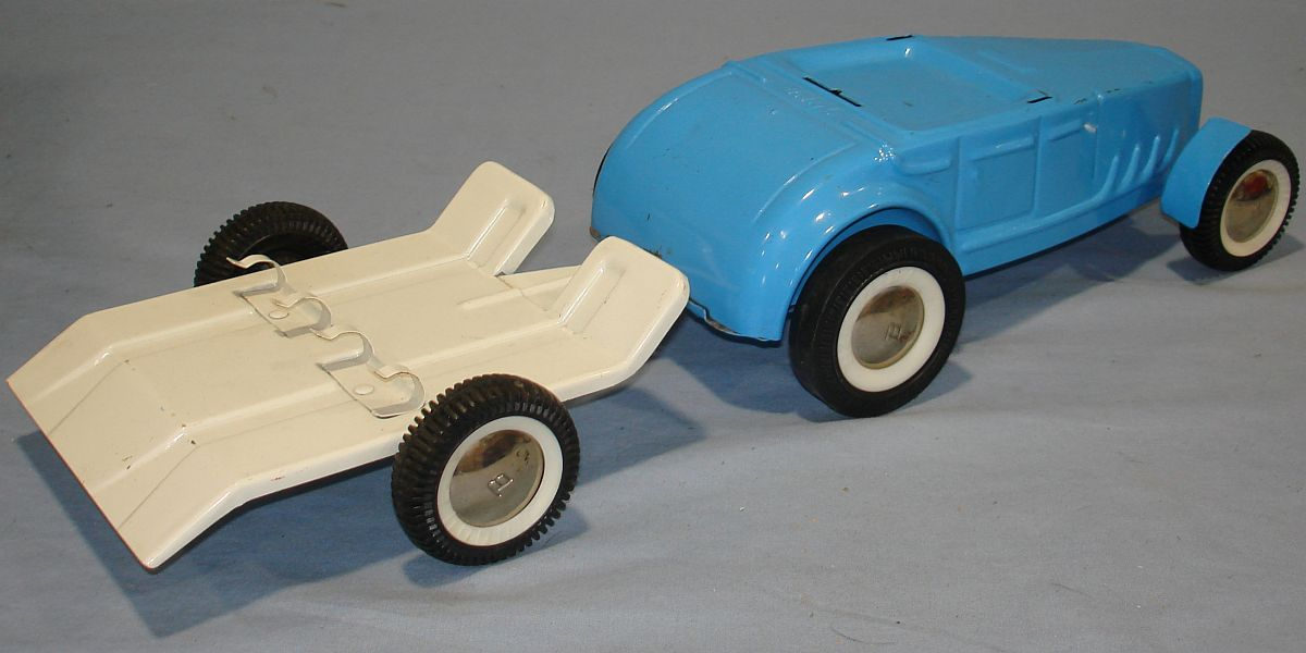 Vintage Buddy L Pressed Steel Blue Ford Hot Rod Roadster White Motorcycle Trailer