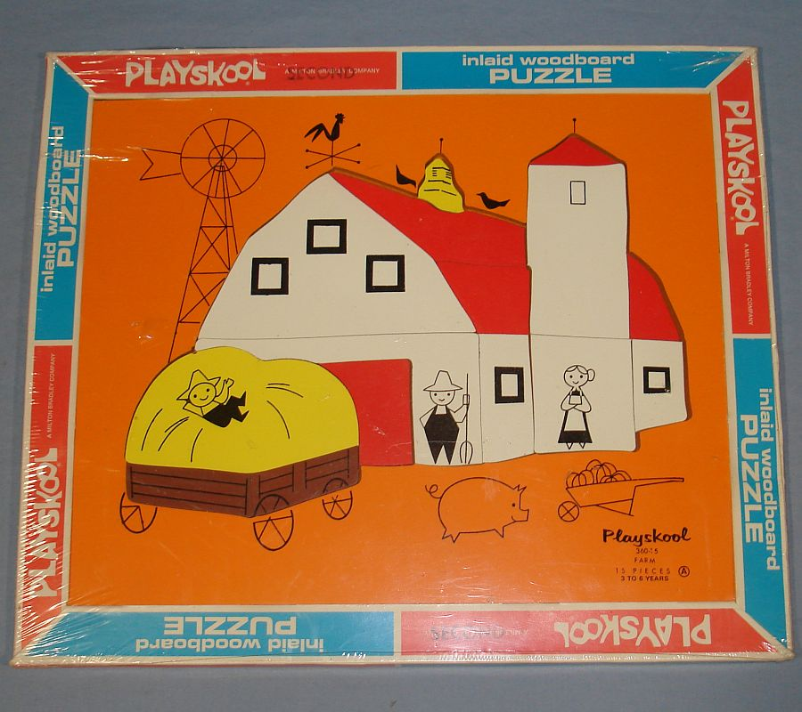 Vintage Playskool Inlaid Wood Board Puzzle Farm Scene #360-15 Front