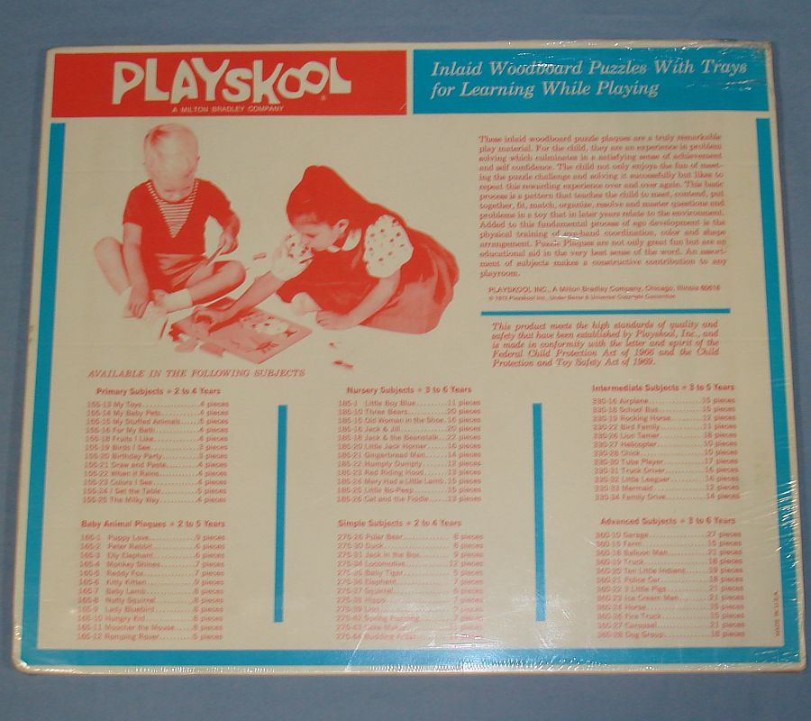 Vintage Playskool Inlaid Wood Board Puzzle Farm Scene #360-15 Back