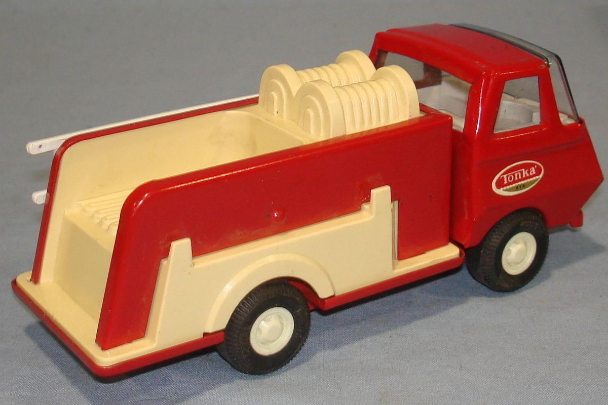Vintage Mini Tonka Red Fire Engine Pumper #595 Hoses Door Sticker