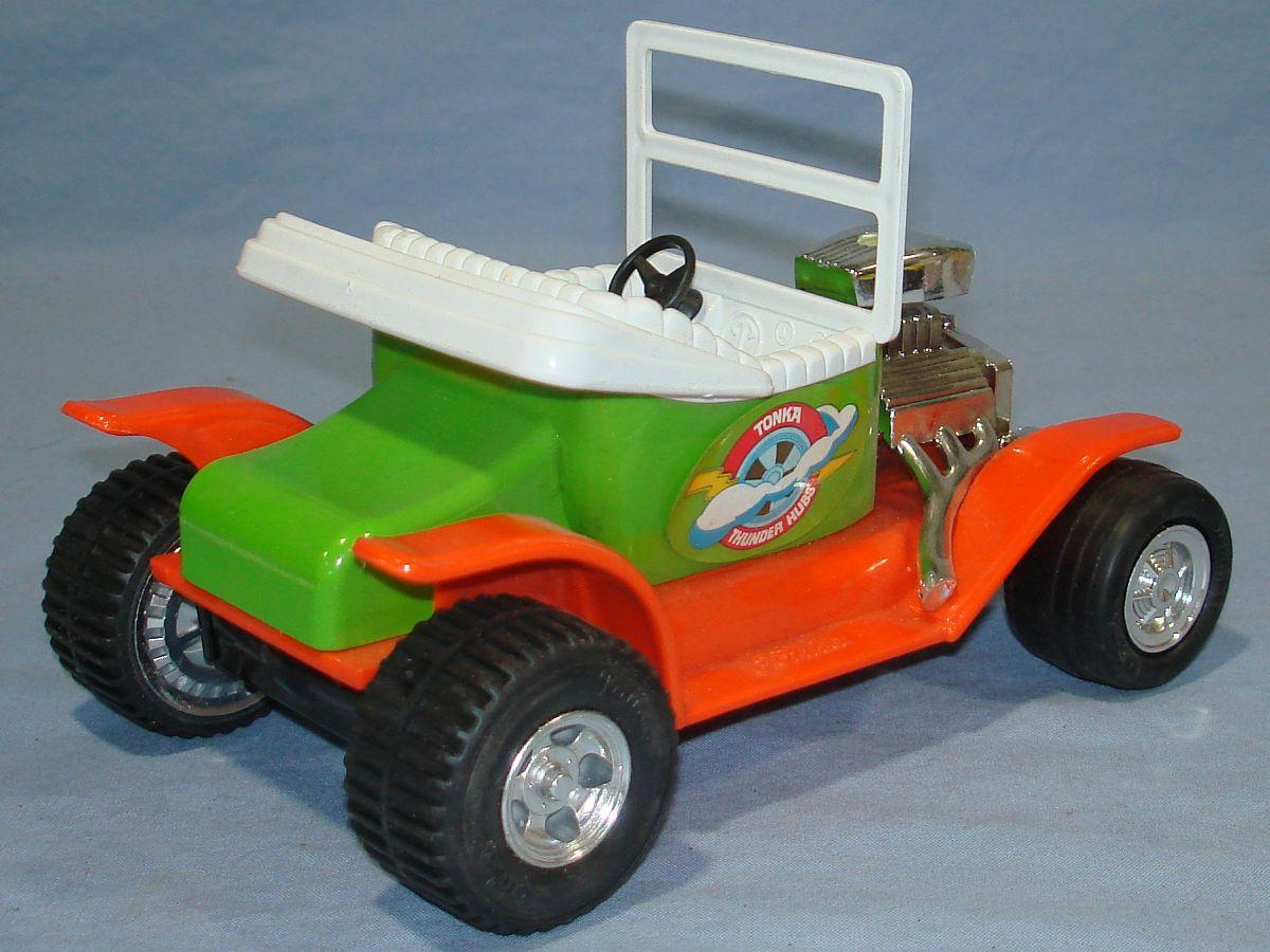 Vintage Mini Tonka Orange Lime Green Thunder Hubs Model T #1325 White Seat Windshield