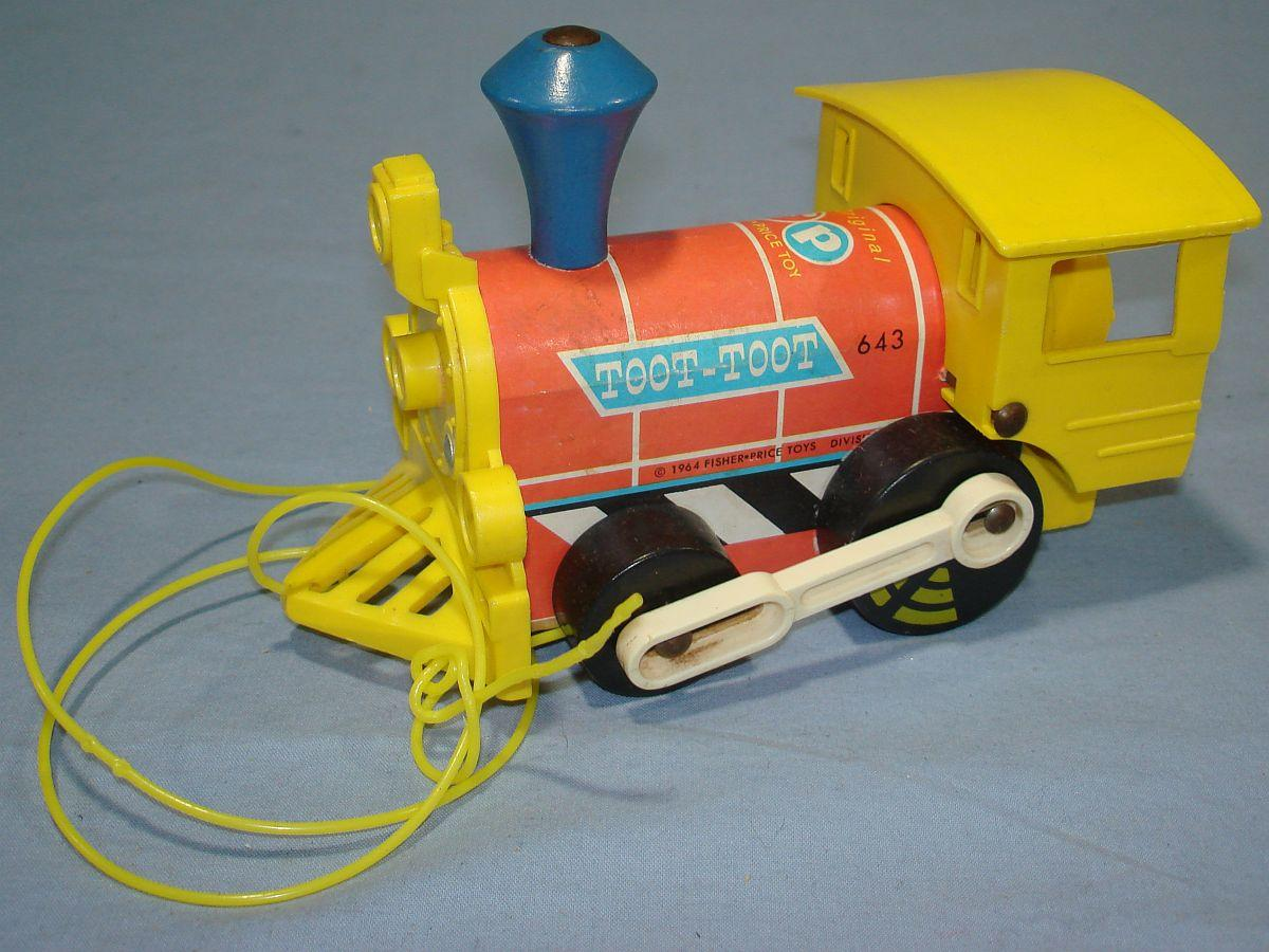 1964 fisher price toys fp toot toot train engine pull toy. Black Bedroom Furniture Sets. Home Design Ideas