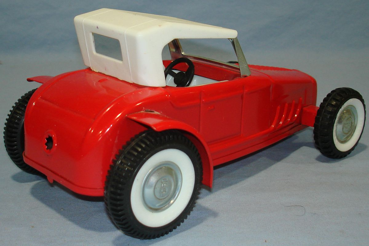 Vintage Nylint Pressed Steel Red Ford Hot Rod Roadster Trunk Roof