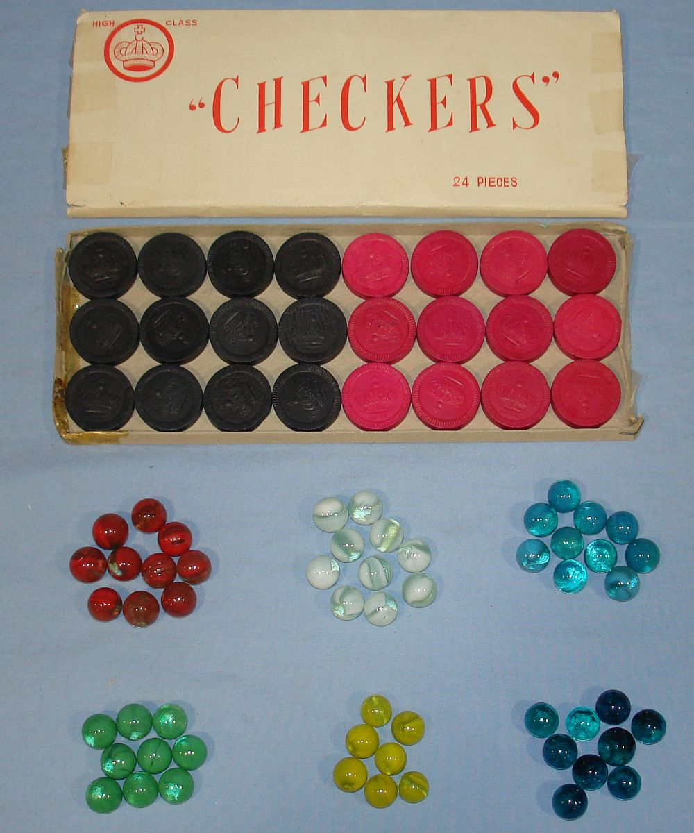 Vintage Ohio Art Chinese & Regular Checkers #538 Checkers & Marbles
