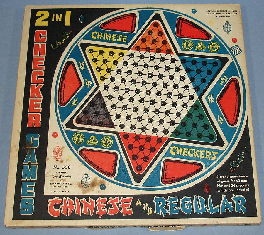Vintage Ohio Art Chinese & Regular Checkers #538 Box Front