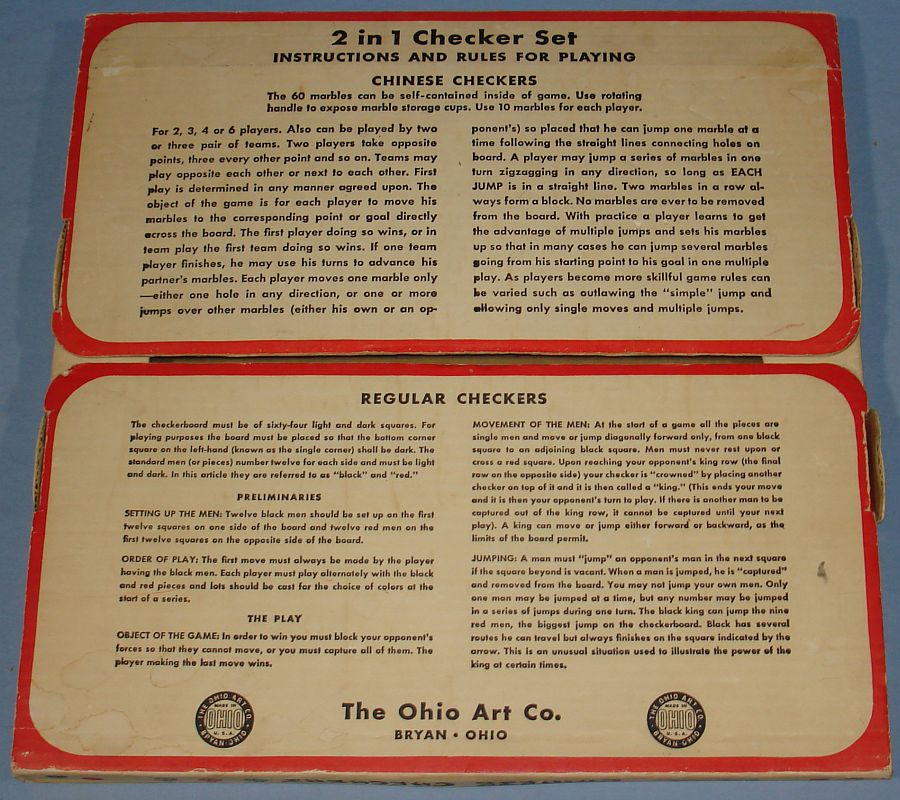 Vintage Ohio Art Chinese & Regular Checkers #538 Instructions & Rules