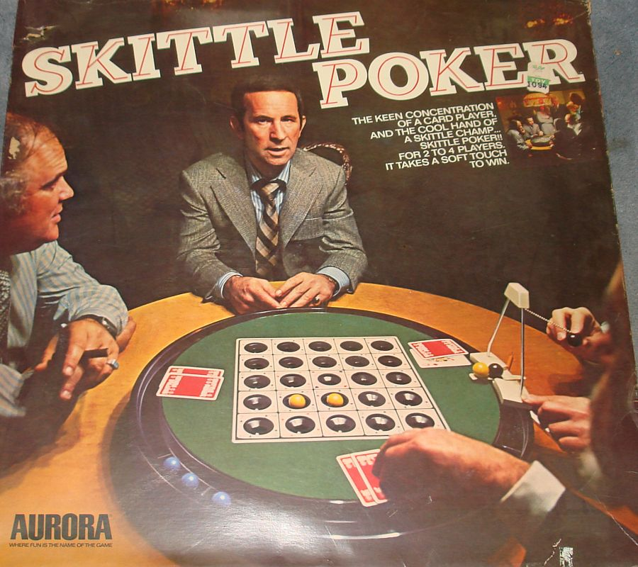 Vintage Aurora Plastics Corporation Skittle Poker Game #5520 Box Lid Graphics