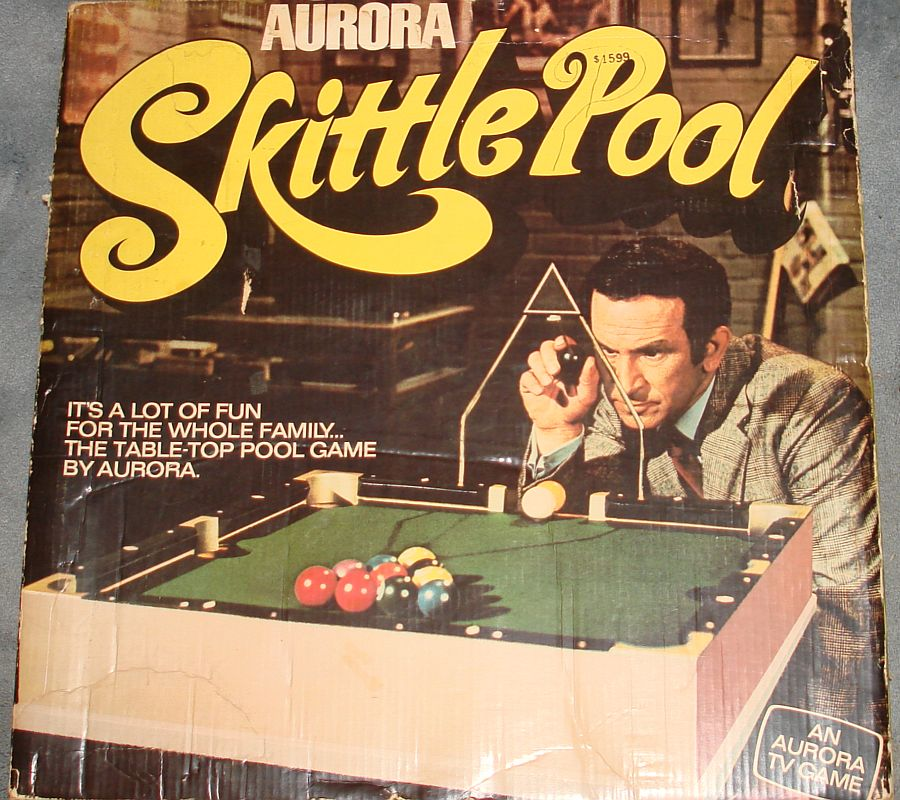 Vintage Aurora Plastics Corporation Skittle Pool Game #5511 Box Lid Graphics