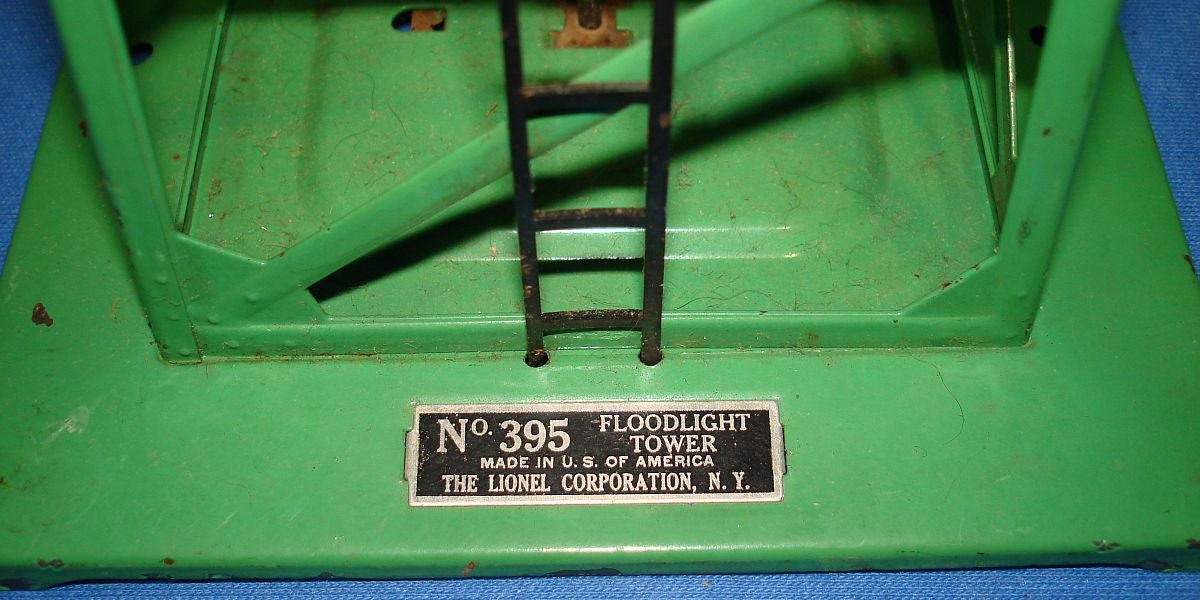 Vintage Lionel Corporation Green Train Floodlight Tower #395 Plate