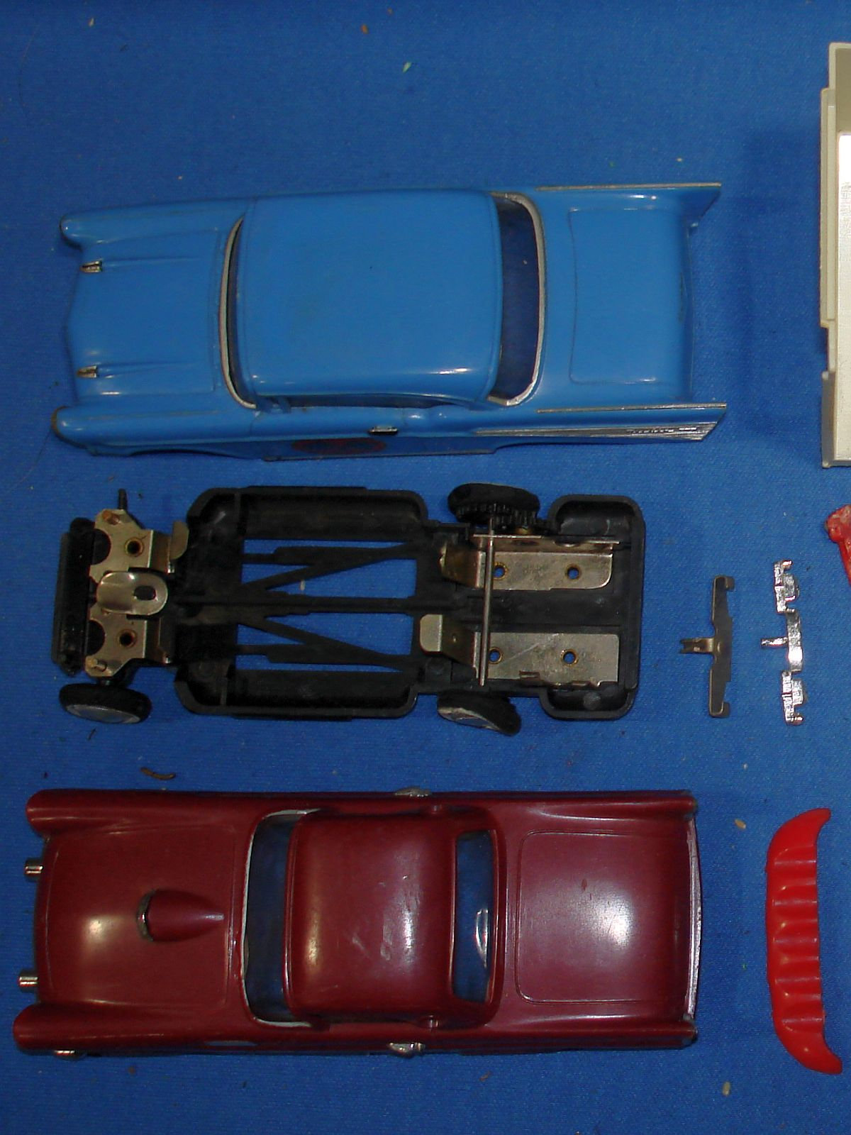 Sears Motorific Super Torture Track Set Ideal Toy #492001 Ford Thunderbird 1957 Chevy Belair Chassis Motors