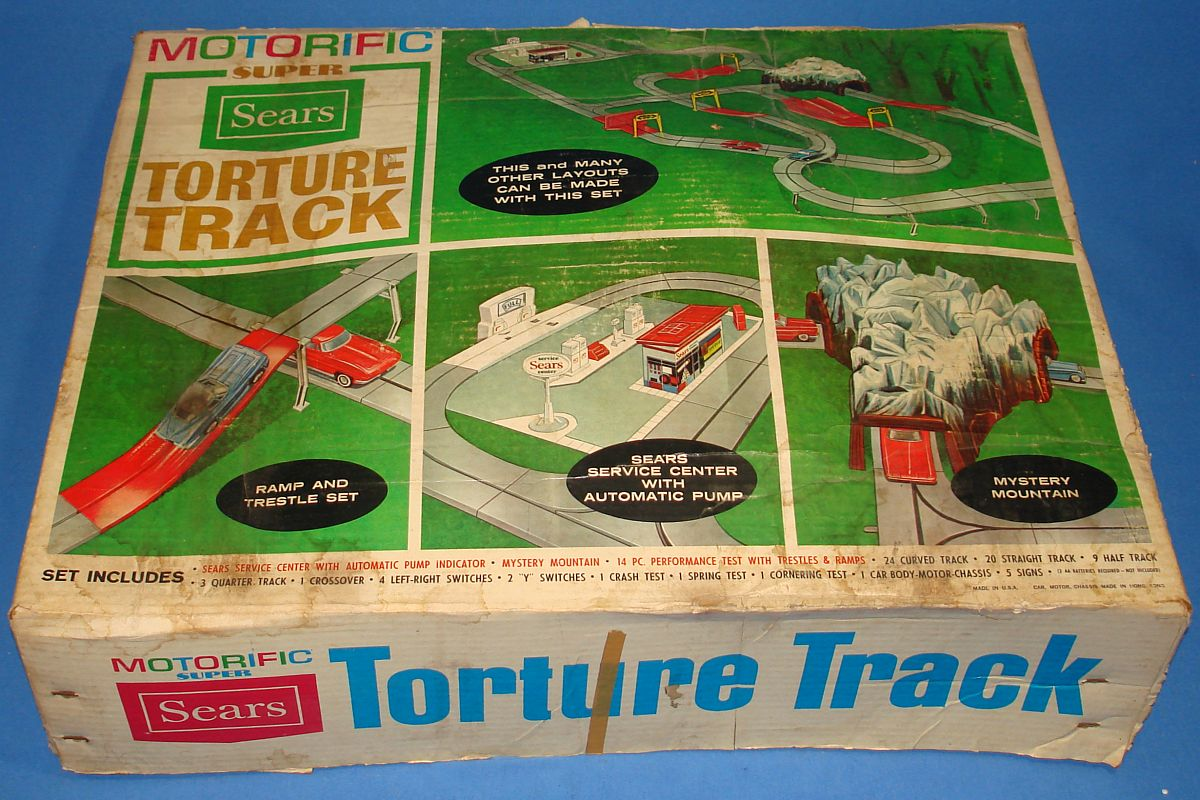 Vintage Sears Motorific Super Torture Track Set Ideal Toy Corporation #492001 Box Lid Graphics